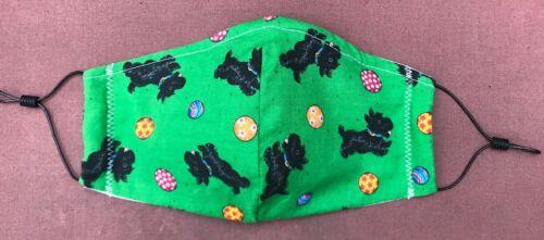 Scottish Terrier, Scottie, Face Mask Washable Reusable Triple Layer Cotton