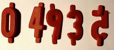 50 Preisziffern - Ziffern - Zahlen, Kunststoff rot, 18 mm
