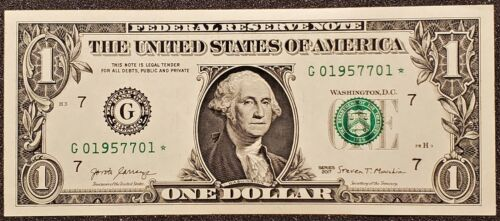 1x Crisp New Sequential Uncirculated 2017 One Dollar ($1) * STAR * Note