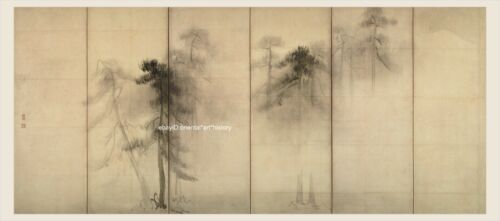 Japanese old screen painting Sumi Ink Free handed Pinetree woods Very Big Size 1