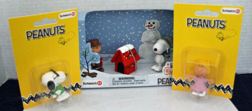 Schleich Peanuts Charlie Brown Christmas Snoopy as Joe Cool Sally Lot of 3