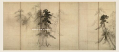 Japanese old screen painting Sumi Ink Free handed Pinetree woods Very Big Size 2