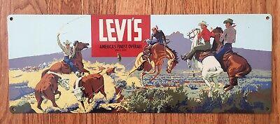 Levi's Blue Jeans Denim 501 Vintage Cowboy Western Wear Advertising Poster Sign