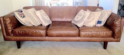 Buffalo Tan Leather Sofa - 3 seater Brooklyn by Freedom Furniture Stanhope Gardens Blacktown Area Preview
