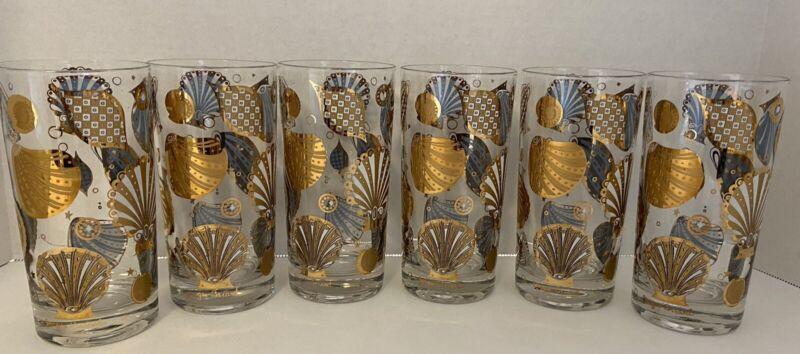 6 Rare Georges Briard Seascape Highball Glasses Gold Shells, Mid-Century Modern