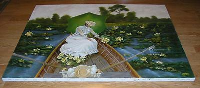 VICTORIAN GIRL PARASOL ROW BOAT GARDEN POND BOTANICAL YELLOW LILY PADS PAINTING
