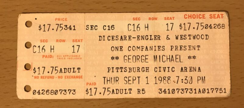 1988 GEORGE MICHAEL FAITH TOUR PITTSBURGH CONCERT TICKET STUB WHAM! MAKE IT BIG