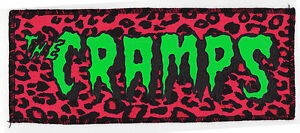 NEON UV GREEN & BLACK CRAMPS PSYCHOBILLY PUNK GOTH PINK LEOPARD OVERLOCKED PATCH