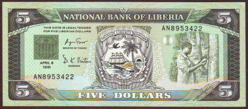 LIBERIA  5 Dollars  6.4.1991   Gem UNC