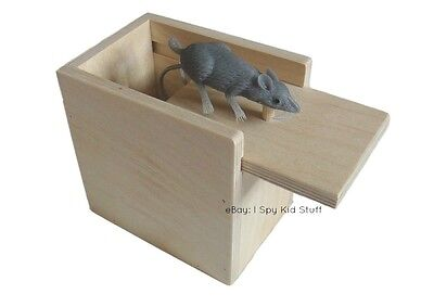 Amish Handmade Wooden Prank Box  Mouse   Home Office Funny Practical Joke Toy
