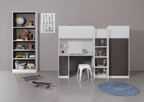 Grijs Wit Slaapkamer : ≥ hoogslaper irma grijs wit eenpersoons hoogslaper mdf en hpl