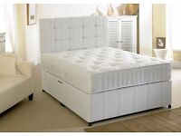 Luxury White Damask Fabric *** Great Value Double Divan Bed With Orthopaedic Mattress Brand New