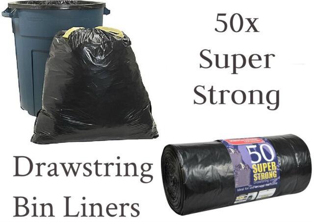 50 SUPER STRONG BLACK REFUSE SACKS DRAWSTRING RUBBISH BAG BIN LINERS DRAW STRING