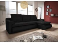 RIGHT CORNER SOFA BED IN BLACK WITH STORAGE