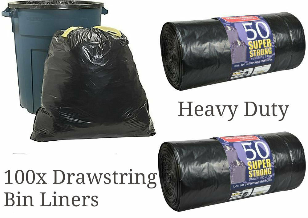 100 Super Strong Black Refuse Sacks Drawstring Rubbish Bag Bin Liners Drawstring Ebay