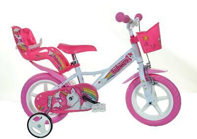 "Dino Unicorn 12"" Kids Single Speed Bike Girls Bicycle Pink Stabilisers 124RL-UN"