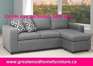 CONDO SIZE FABRIC SECTIONAL WITH REVERSIBLE CHAISE..$499