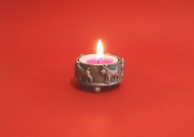 Miniature Schnauzer Tea Light Holder Antique Pewter Father Mother Schnauzer Gift