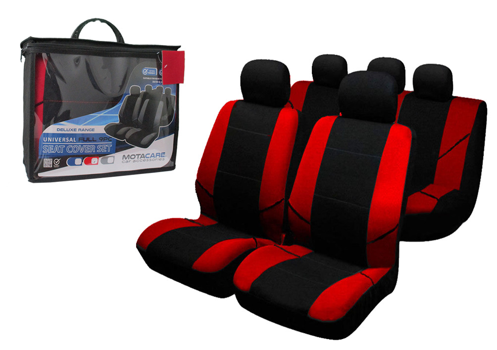 Car Seat Covers 9Pcs Universal Full Set Black Red Airbag Compatible Washable