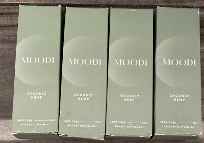 Lot of 4 MOODI ORGANIC HEMP - 100% Pure, 30ml. DIETARY SUPPLEMENT OIL