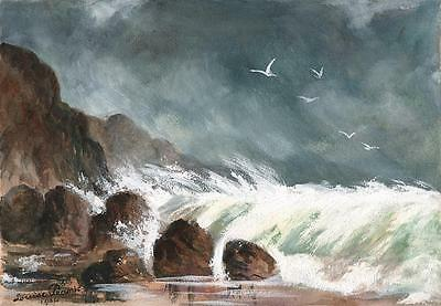 STORMY WAVES ON COASTLINE Watercolour Painting LOUISE PEARSE 1904