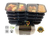 Pack of 10 Premium 2 compartment Microwave & Dishwasher Safe Stackable Plastic Food Containers