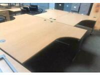 1800mm Left Curved Office Desk - Beech