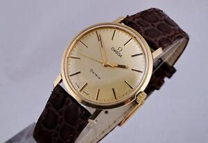 VINTAGE OMEGA GENEVE 14K GOLD REF.1211 THICK LUGS GOLD DIAL CLEAN CONDITION WATCH