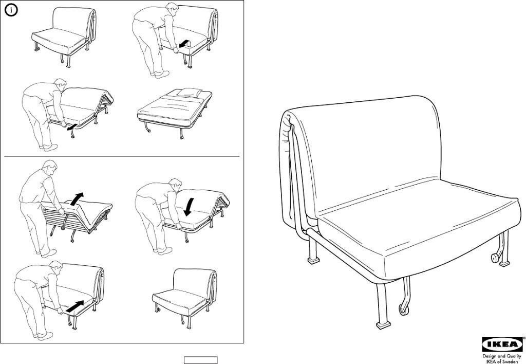 Chair Bed Armchair Easily Converts To Comfy Single Sofa Ikea Lycksele