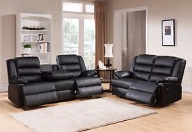 MILANN 3 AND 2 SEATER LEATHER RECLINER SOFA - BRAND NEW