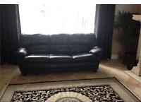 DFS Superior 2 piece suite genuine black Italian leather 3 & 2 seater sofas & 2 beanbag footstool
