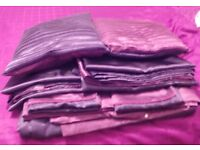 Matching set of satin kingsize bedding, curtains, Cushions and throw