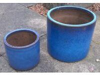 2 blue outdoor plant pots