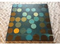 Large Ikea Spotty Abstract Blue & Brown Canvas Picture