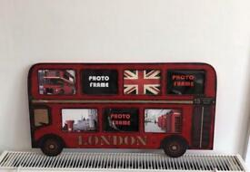 London bus photo frame vintage style