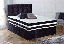 ***Free headbaord *** Black crushed velvet Divan base with memory sprung mattress