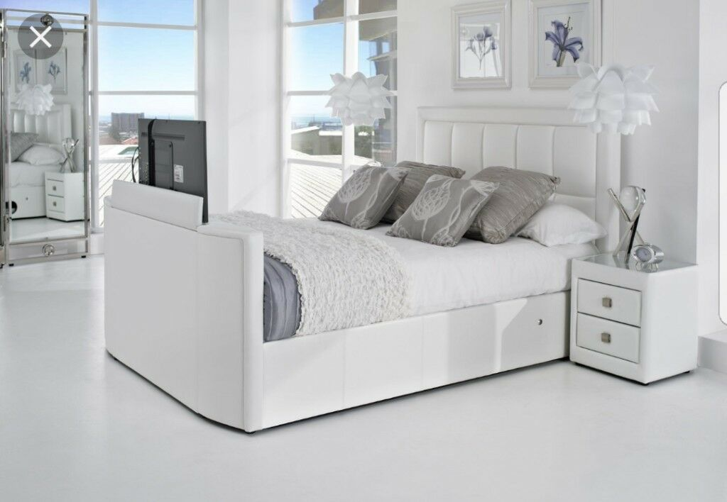 White leather SuperKing TV Bed with mattress £1000 ono make me an ...