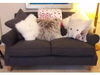 SOFA WORKSHOP 'MISS FIREFLY' SMALL SOFA * CHARCOAL LINEN* AS NEW * RRP £2000