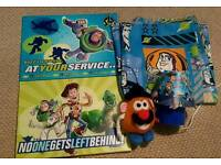 Toy story bedroom bundle. Curtains, canvas pictures, lamp and teddy.