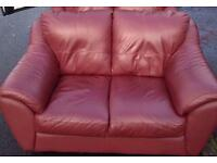 2 x 2 red leather sofa free delivery