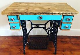 Transformed Singer sewing machine table