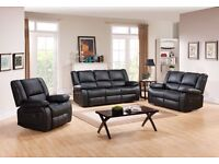 ***TORONTO BLACK FREE DELIVERY NEW LEATHER RECLINER SOFA***