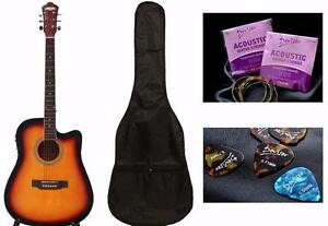Acoustic Electric Guitar Sunburst for beginners iMusic218 installed EQ Free Soft bag, extra String set, 5 picks