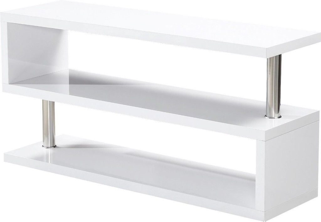 ***BRAND NEW BUILT***White High Gloss / Chrome Flat Screen TV Stand W1250mm x D400mm x H200mm CHARM