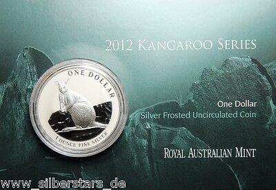 1 AU Dollar Silber Känguru  Kangaroo 2012 1 OZ Silver in Blister Coincard ()