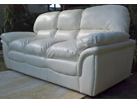 Ex-display Rochester 3 Seater Ivory Leather Sofa