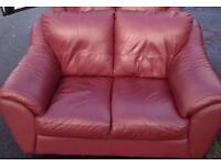 2 x 2 seater red leather sofas free delivery