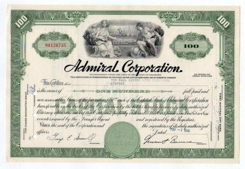 Admiral Corporation Stock Certificate