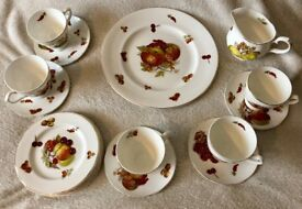 Tea & cake set collectable Vintage Bone China by Mayfair Pottery Autumn themed. Cream tea anybody?