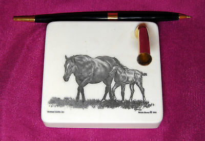 Mare Foal Etched Montana Marble Desk Pen Holder Set